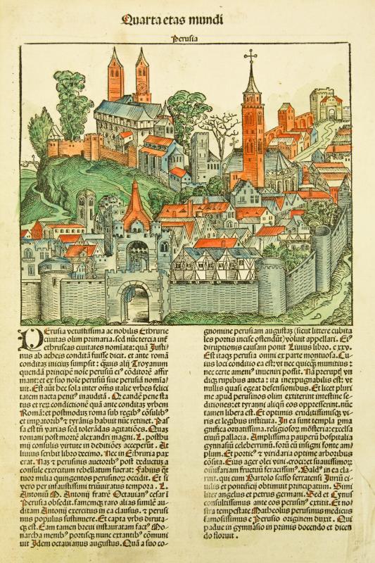 Detail of Perugia, Italy, Liber chronicarum