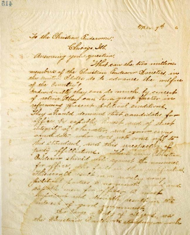 Letter from L.C. Hughes to Christian Endeavour