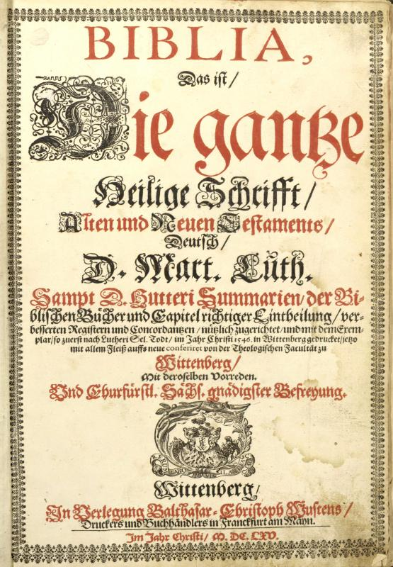 Title page, German copy of the New Testament translated by Martin Luther