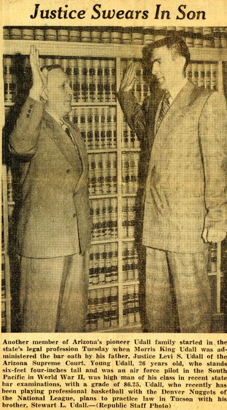 Levi Udall (father) swearing in Morris Udall, 1949