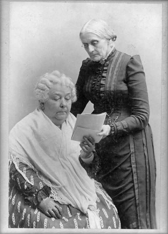 [Elizabeth Cady Stanton, and Susan B. Anthony, standing, three-quarter length portrait]