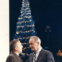 Christmas tree lighting ceremony, 1967<br />