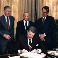 Udall with President Reagan, 1980s