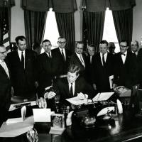 Signing a bill for Point Reyes, CA, 1962<br />