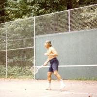 Steward Udall playing tennis, 1970s.