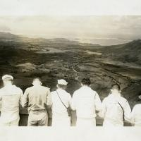 Six Sailors Looking on the Oahu Valley from Pali, Oahu, HI