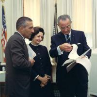 Commemorative presentation at the White House, 1968<br />