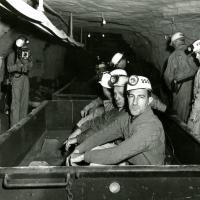 Touring a coal mine in West Virginia, 1961<br />