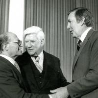 Morris K. Udall, Menachem Begin, and Tip O'Neil, 1979