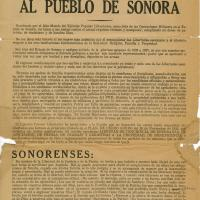 Manifiesto al pueblo de Sonora<br />