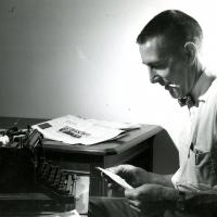 Morris Udall with his favorite typewriter, undated
