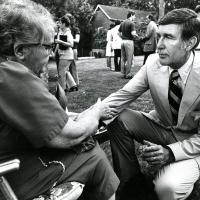 Udall with constituents on the campaign trail, 1976