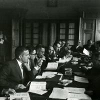 Attending a meeting on Russian power utilities, 1962<br />