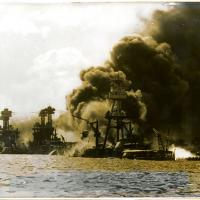 Mast of USS Arizona Engulfed in Flames during Pearl Harbor Attack