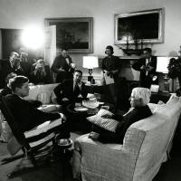 President Kennedy, Carl Sandburg, and Stewart Udall, 1961