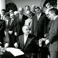 Signing a wilderness conservation bill, 1964<br />