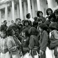 Udall with Zuni children on the steps, 1967