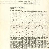 Carta de Benjamín De la Torre a su padre, 1944-07-28