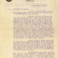 Carta de Alfonso De la Torre a su padre Ignacio De la Torre, 1934-09-03