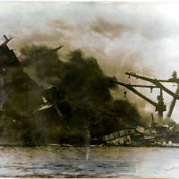 Mast of USS Arizona Falling during Pearl Harbor Attack,