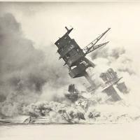 Foremast of the USS Arizona, Engulfed in Smoke