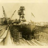 USS Arizona in Norfolk Navy Yard Dry Dock During Modernization