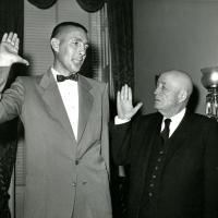 Udall sworn in by Speaker of the House Sam Rayburn