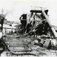 General Cleaning Operations after Port Leg of Foremast Removed from USS Arizona Wreckage