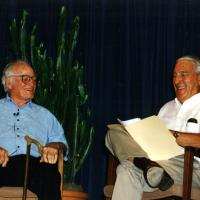 Stewart Udall with retired Senator Barry Goldwater, 1996<br />