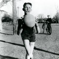 Morris Udall playing basketball as a child, circa 1932