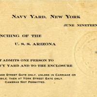 Ticket to the launching of the USS Arizona