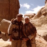 Stewart and Elma Udall, Colorado Trail trip. April 1984.