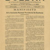 Manifiesto de la Asociación Nacional Pro-Libertad de Enseñanza<br />