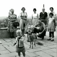 Morris Udall and family with a young fawn, 1960s