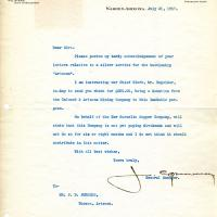 Letter to Captain Burgess from Calumet & Arizona Mining Company's General Manager