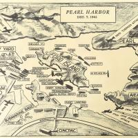 Map of Pearl Harbor with attacks marked