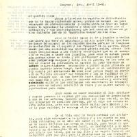 Carta de Benjamín De la Torre a su madre María Uribarren 1941-04-12