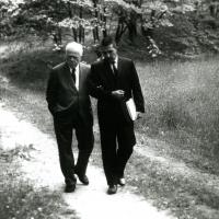 Udall and Frost Strolling Through Dumbarton Oaks
