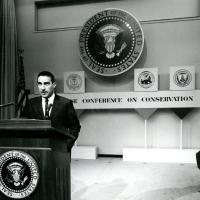 Speech at a conservation conference, with President John F. Kennedy, 1962