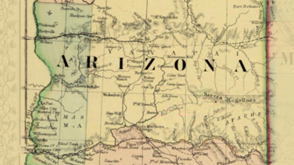 Map Of Arizona To Mexico.Map Of Arizona And New Mexico 1867 Special Collections