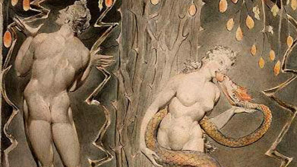 """Artwork, pen and watercolor illustration of """"The Temptation and Fall of Eve"""""""