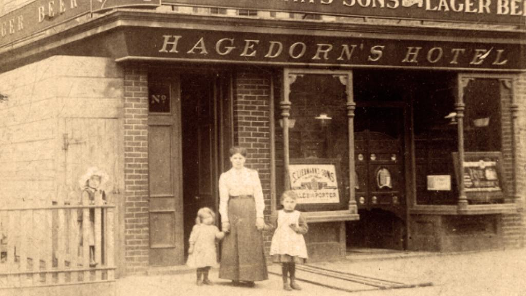 Exterior of the Brooklyn Branch of Hagedorn Family Hotel, circa 1900