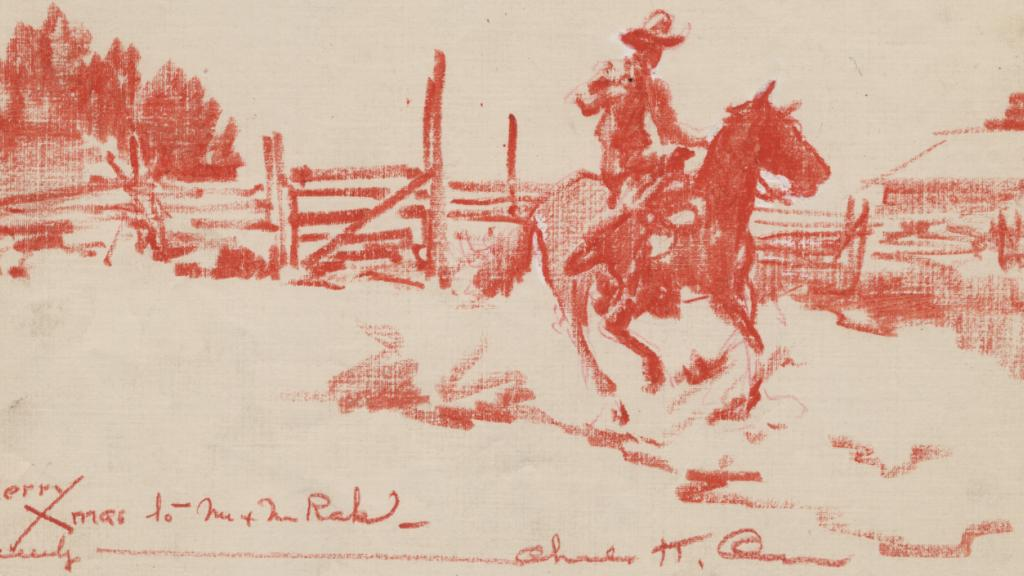 Crayon Drawing by Charles Owen, Illustrator for Mary Kidder Rak's book A Cowman's Wife