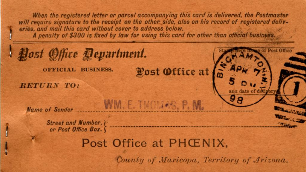Receipt from Certified Mail Sent by Thomas to Bundy Manufacturing Company, circa 1894-1898