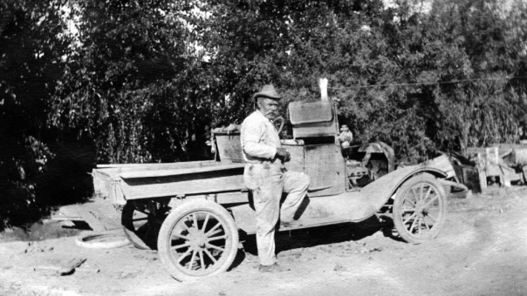 Photograph of Jacob E. Ludy and Car, circa 1900-1920