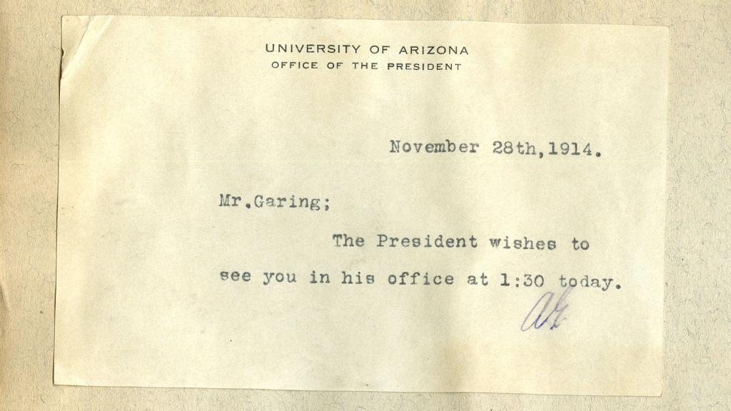 Memo Sent to Robert S. Garing from the Office of the University of Arizona President, November 28, 1914