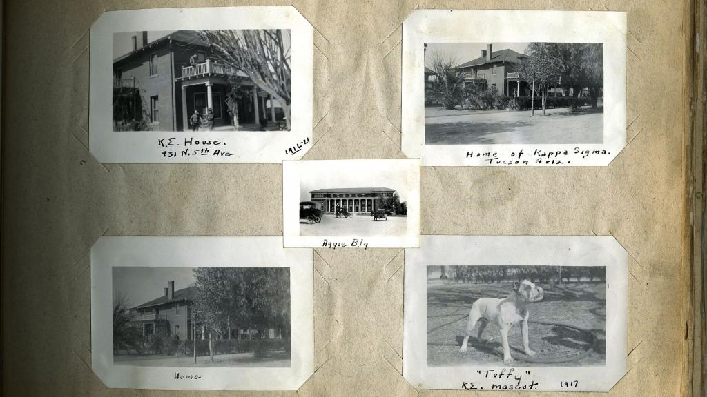 Page from Scrapbook of Thomas J. Finnerty with Photographs of Kappa Sigma Fraternity, 1916-1921