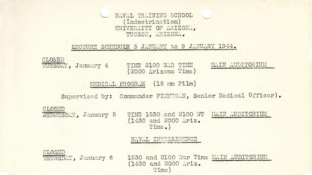 Lecture Schedule for United States Naval Training School (Indoctrination), January 3-9, 1944