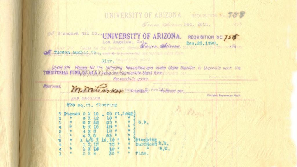 Page from Requisition Book for University of Arizona Purchases, December 29, 1898