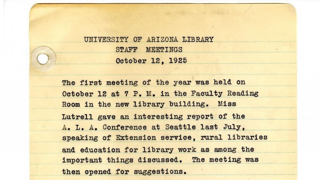 Page 1 of Minutes from University of Arizona Library Staff Meetings, October 12, 1925